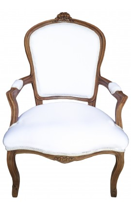 Armchair of Louis XV style white fabric and natural wood color