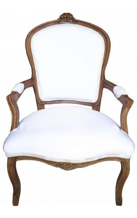 Fauteuil Louis XV de style baroque tissu blanc et bois naturel