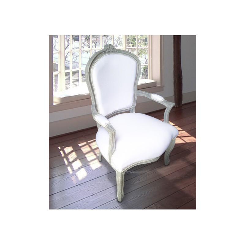 Fauteuil de style louis xv tissu blanc et bois gris patin for Fauteuil bois blanc