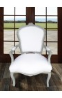 Armchair of Louis XV style white fabric and grey with white patina aspect
