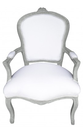 fauteuil de style louis xv tissu blanc et bois gris patin. Black Bedroom Furniture Sets. Home Design Ideas