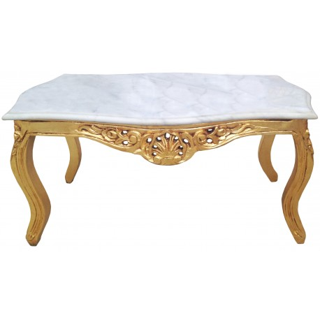 table basse de salon de style baroque en bois dor avec marbre blanc. Black Bedroom Furniture Sets. Home Design Ideas
