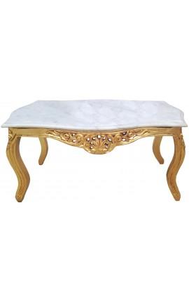 Table basse de salon de style baroque en bois doré avec marbre blanc