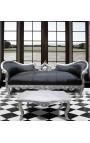 Table basse de salon de style baroque en bois argenté avec marbre blanc