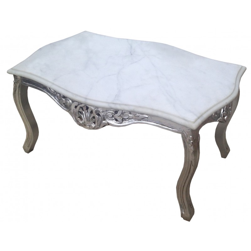 Coffee table baroque style silvered wood with white marble top White marble coffee table