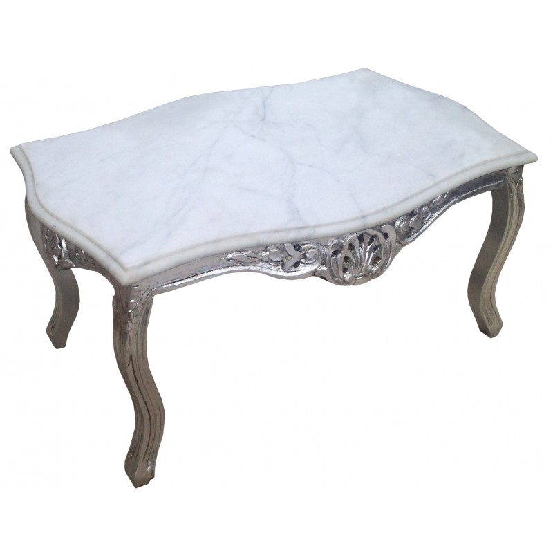 Coffee table baroque style silvered wood with white marble top for Stone topped coffee tables