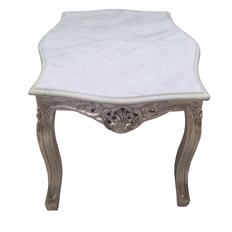 table basse de salon style baroque en bois argent avec. Black Bedroom Furniture Sets. Home Design Ideas