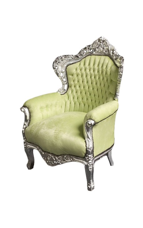 Big baroque style armchair lime green velvet fabric and silver wood