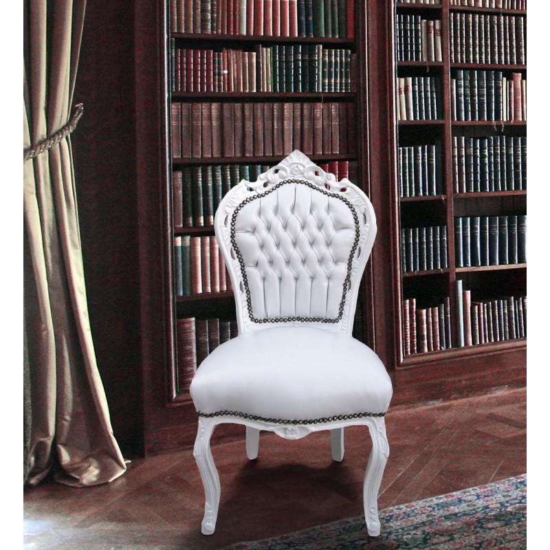 chaise de style baroque rococo tissu simili cuir blanc et bois laqu blanc. Black Bedroom Furniture Sets. Home Design Ideas