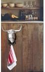 Porte serviette ou torchon, tête de taureau en fonte de fer
