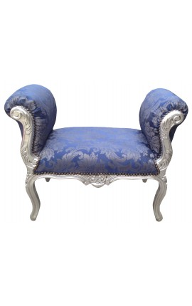 "Baroque bench Louis XV style blue ""Gobelins""pattern fabric and wood silvered"