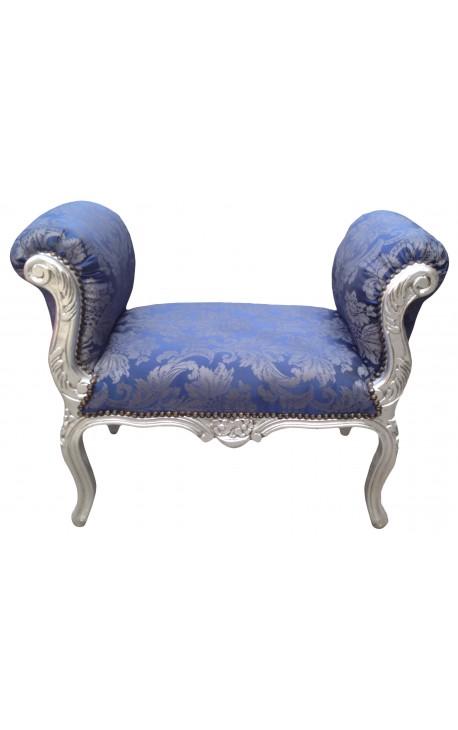 """Banquette baroque de style Louis XV tissu satiné bleu aux motifs """"Gobelins"""" et bois argenté"""