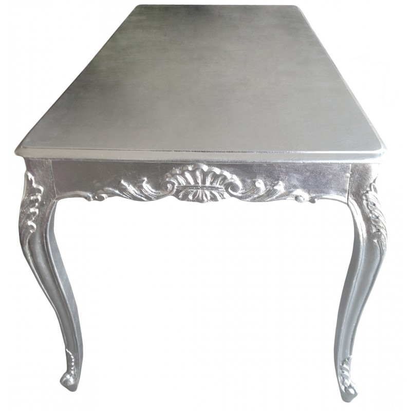Baroque dining table wood with silver leaf for Baroque dining table set