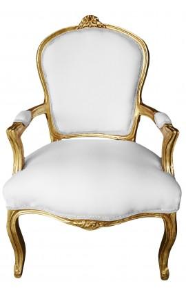 Fauteui Louis XV de style baroque tissu blanc et bois doré