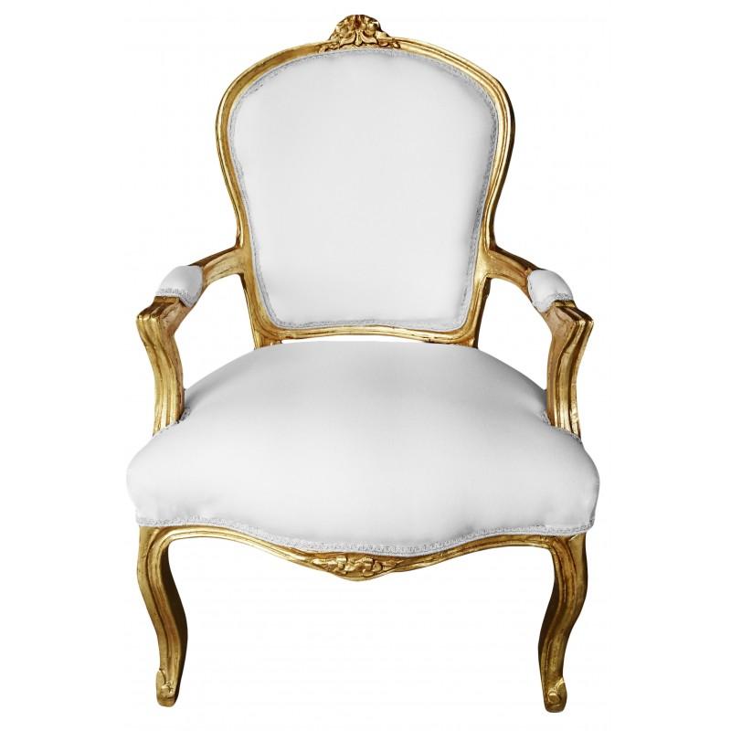 Fauteuil de style louis xv tissu blanc et bois dor - Fauteuil tissu blanc ...