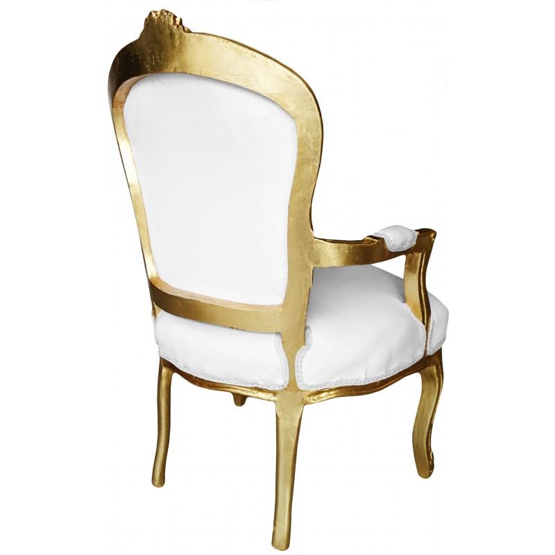 Fauteuil de style louis xv tissu blanc et bois dor for Fauteuil bois blanc