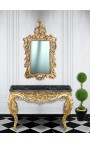 Console Baroque Louis XV Rocaille gilt wood and black marble