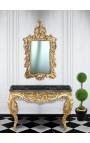 Console de style baroque Louis XV Rocaille en bois doré et marbre noir