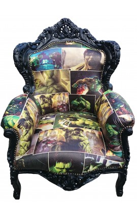 Big baroque style armchair faux leather comics print and black wood