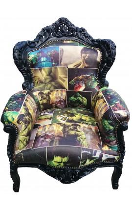 Grand fauteuil de style baroque simili cuir décor bande dessinée et bois noir