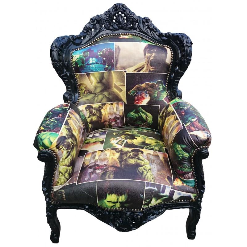Grand fauteuil de style baroque simili cuir bande dessin - Fauteuil style baroque ...