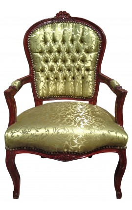 Baroque armchair of Louis XV style with green satin fabric and raw cherry wood color