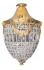 Гранд подвески люстр прозрачного стекла с золоченой бронзой