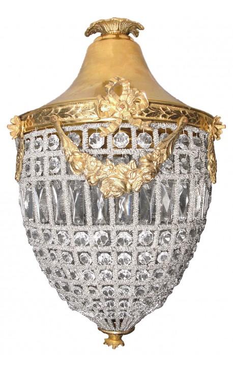 Grand lustre à pampilles verre transparente avec bronzes dorés