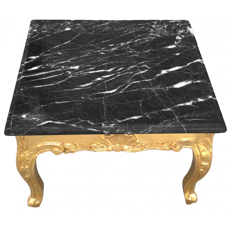 Square Coffee Table Stone: Square Coffee Table Baroque Style Gold Leaf Black Marble Top