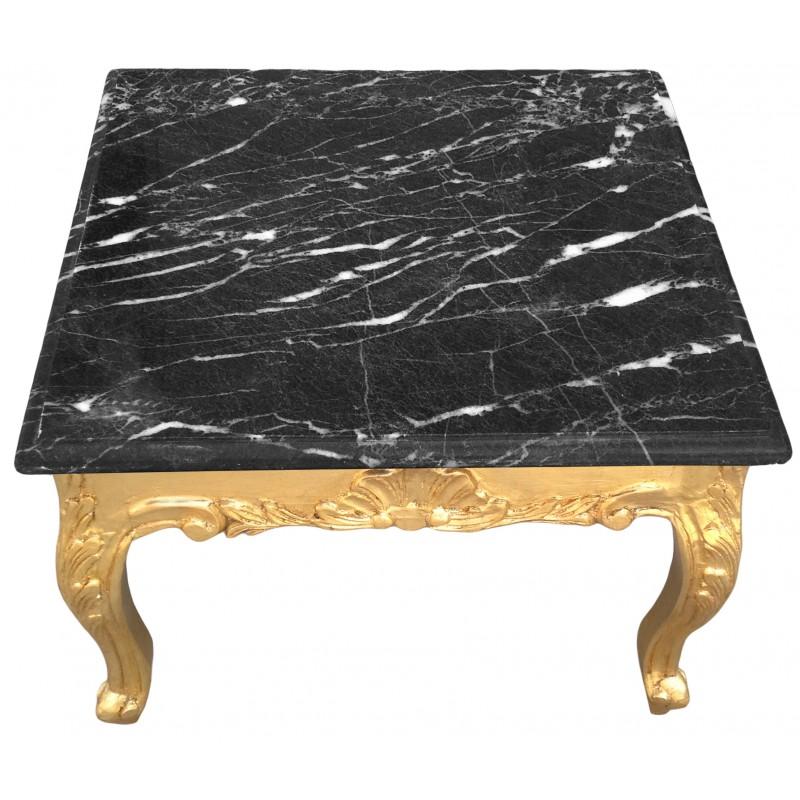 Table Basse Carr E Style Baroque Bois Dor Et Plateau En Marbre Noir