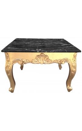Square coffee table baroque with gilded wood and black marble