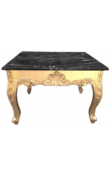 table basse carr e style baroque bois dor et plateau en marbre noir. Black Bedroom Furniture Sets. Home Design Ideas