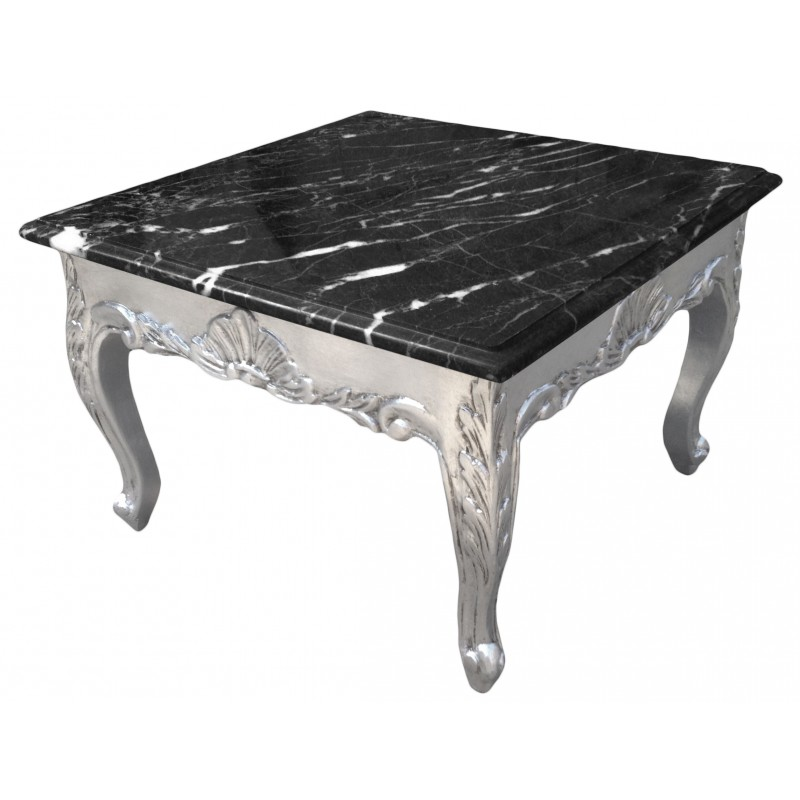 table basse carr e style baroque bois argent plateau en marbre noir. Black Bedroom Furniture Sets. Home Design Ideas