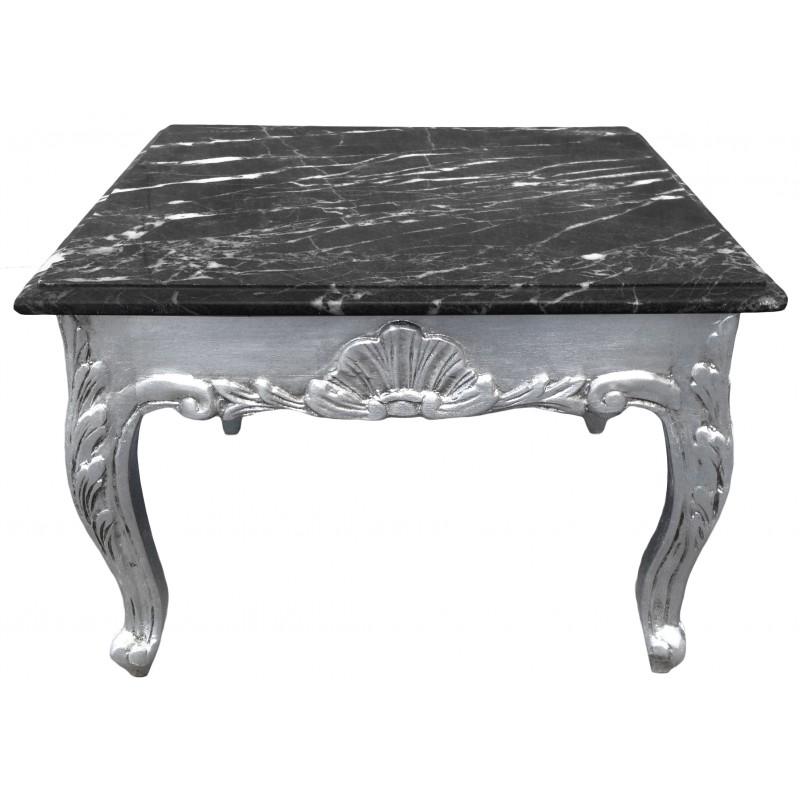 Table basse carr e style baroque bois argent plateau en for Table basse marbre noir