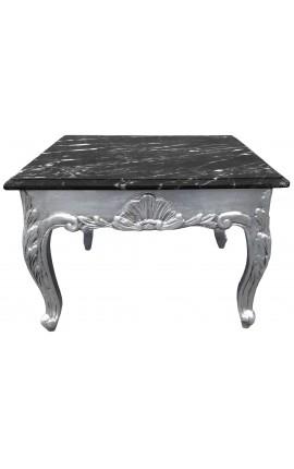 Table basse carrée de style baroque avec bois argenté et marbre noir