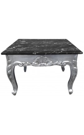 Square coffee table baroque with silvered wood and black marble