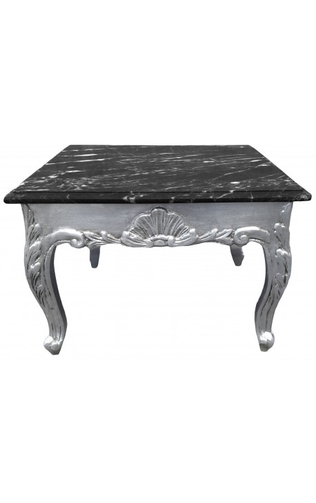 table basse carr e style baroque bois argent plateau en. Black Bedroom Furniture Sets. Home Design Ideas