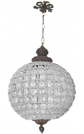 Chandelier ball shaped with clear glass and rusty look bronze