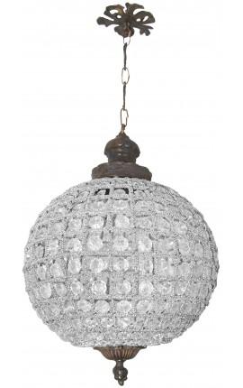 Lustre boule à pampilles verre transparente avec bronzes