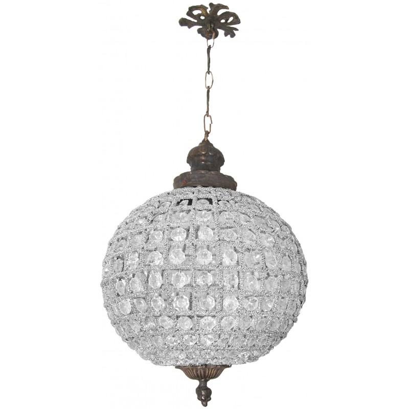 Lustre boule pampilles verre transparente avec bronzes for Lustre pampilles