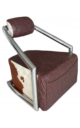 Tubular steel chair design with two-tone leather
