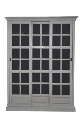 Bookcase gray sliding doors French country style style