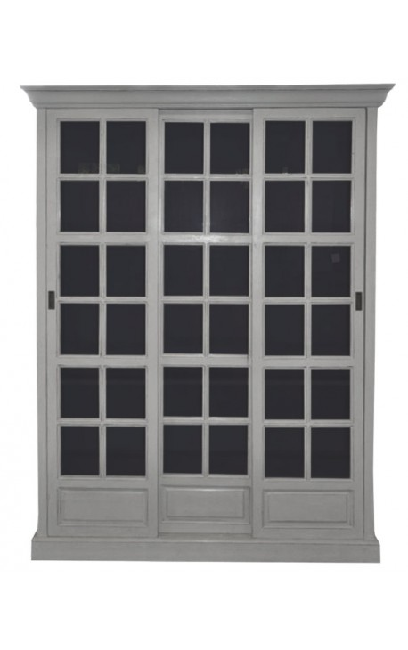 Biblioth que grise portes coulissantes style campagne chic - Porte coulissante grise ...