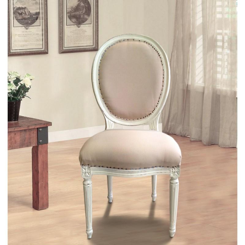 Chair louis xvi style fabric color linen beige antique - Relooker chaise en bois ...