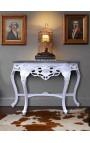 Console de style baroque en bois laqué blanc et marbre noir