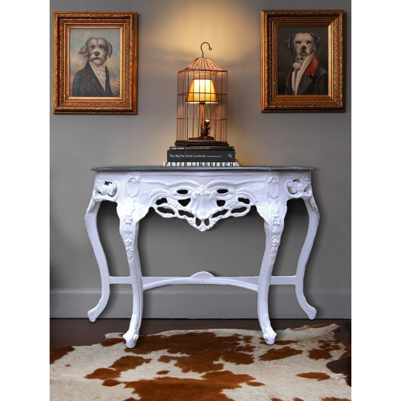 console de style baroque en bois laqu blanc et marbre noir. Black Bedroom Furniture Sets. Home Design Ideas