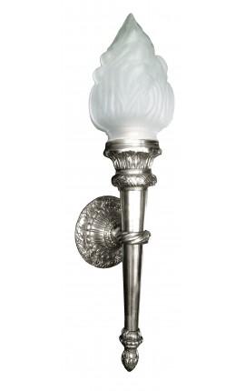Большой бра факел посеребренные бронзовые Ампир