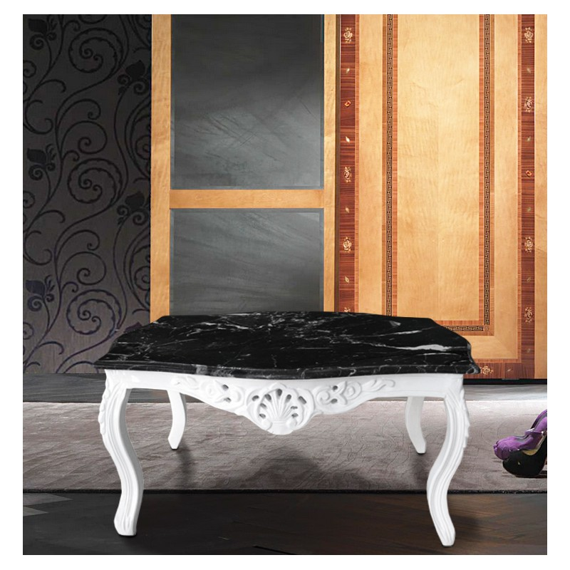 table basse de salon de style baroque en bois laqu blanc avec marbre noir. Black Bedroom Furniture Sets. Home Design Ideas