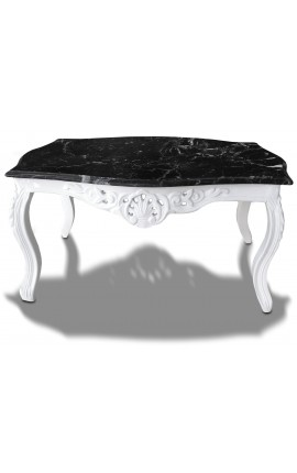 Coffee table baroque style white lacquered wood with black marble top