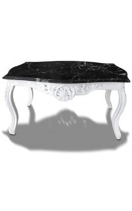 Table basse de salon de style baroque en bois laqué blanc avec marbre noir